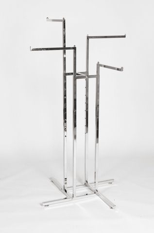 4-Way Adjustable Garment Display Rail (Straight Arms)