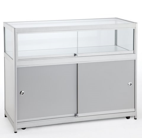 Aluminium Counter / Showcase With Halogen Lights (1000mm W x 900mm H x 500mm D)