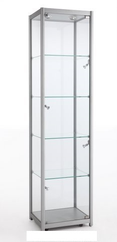 Aluminium Tower Showcase With Halogen Lights (500mm W x 1980mm H x 400mm D)