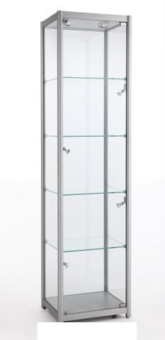 Aluminium Tower Showcase With Halogen Lights (600mm W x 1980mm H x 600mm D)